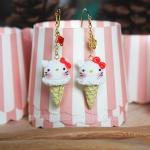 ต่างหูดินปั้น เฮลโลคิตตี้ไอศครีม Hello Kitty Ice-cream