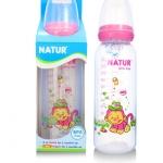 ขวดนม BPA-free พิมพ์ลาย Natur 8 oz. สีชมพู