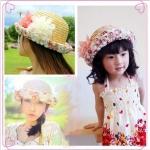 หมวกสานปีก คุณแม่-ลูกสาว สไตล์เกาหลี ประดับดอกไม้ผ้าสวยหวานน่ารัก