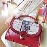 [ พร้อมส่ง ] - กระเป๋าแฟชั่น นำเข้าสไตล์เกาหลี สีไวน์แดง ปริ้นลายสไตล์วินเทจ ดีไซน์น่ารักแบบเก๋มากๆ งานสวยเนี๊ยบ ทะมัดทะแมง