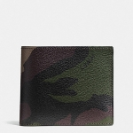 กระเป๋าสตางค์ผู้ชาย COACH COMPACT ID WALLET IN CAMO PRINT COATED CANVAS F75101 : GREEN CAMO