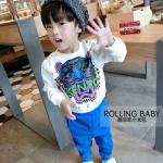 เสื้อกันหนาวแขนยาว สกรีนลายรูปเสือ Kenzo สไตล์เกาหลี สีขาว ไซส์ 5 9 11