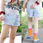 กางเกงขาสั้นผ้ายีนส์ลายทาง *ฟ้า-ขาว* ไซส์ 120