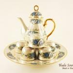 ของขวัญปีใหม่ให้ผู้ใหญ่ ชุดน้ำชาเบญจรงค์ ขนาดใหญ่ ทรงกาอ้วน ลวดลายดอกกุหลาบสีน้ำเงิน ถมมุขผิวมันเงา