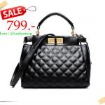 [ Super Sale - 30 มิ.ย. 59 เท่านั้น ] - กระเป๋าแฟชั่น นำเข้าสไตล์เกาหลี สีดำไข่มุกสุดหรู สไตล์แบรนด์ดัง สุดฮิตโดดเด่นไปกับดีไซน์สวย ๆ ที่สาวๆ ไม่ควรพลาด