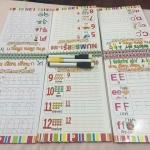 Wipe & Clean แบบฝึดเขียนเขียน กไก่ ,abc} ตัวเลข หัดเขียน-ลบได้