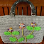 กระเป๋าถักเชือกร่ม ลายปักดอกไม้