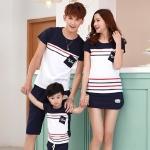 เสื้อครอบครัว - เสื้อยืดแฟชั่นแขนสั้น สีน้ำเงิน