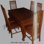 รหัส Maisak00205 ชุดโต๊ะกินข้าวไม้สัก แบบเรียบ 100X200X80 ซม. พื้นโต๊ะหนา 1 นิ้ว  เก้าอี้ กว้าง 37 ซม. ยาว 37 ซม. สูง 95 ซม. โต๊ะกลาง กว้าง 100 ซม. ยาว 200 ซม. สูง 80 ซม.