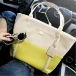 [ พร้อมส่ง ] - กระเป๋าแฟชั่น สะพายไหล่ ทูโทนสีครีม-มะนาว สไตล์ซีรีย์เกาหลี ทรง Shopping Bag ใบใหญ่ ดีไซน์เรียบหรู แบบสวยเก๋ ไม่ซ้ำแบบใคร