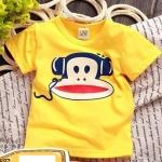 เสื้อยืดคอกลมสีเหลืองลายลิงพอลแฟรงค์