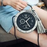 [ พร้อมส่ง ] - กระเป๋าแฟชั่น ถือ&สะพาย สีเทาอ่อน พิมพ์ลายเหมือนนาฬิกา ทรงกลมดีไซน์สวยเก๋แปลกไม่เหมือนใคร ขนาดกระทัดรัด พกพาสะดวก