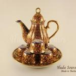 ของขวัญปีใหม่ให้ลูกค้า ชุดน้ำชาเบญจรงค์ทรงกาอ้วน ขนาดกลาง ลวดลายข้าวบินพวง เคลือบเงา
