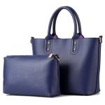 [ พร้อมส่ง Hi-End ] - กระเป๋าแฟชั่น ถือ&สะพาย Set 2 ชิ้น สีน้ำเงินเข้ม ใบใหญ่ + กระเป๋าใบกลาง ดีไซน์สวยเรียบหรู ไม่ซ้ำแบบใคร งานหนังคุณภาพอย่างดี