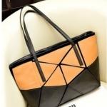 [ เปิดจอง พร้อมส่ง 30/9/14 ]  - กระเป๋าแฟชั่น นำเข้าสไตล์เกาหลี  สีทูโทน ส้ม-ดำ สไตล์อิซเซ่มิยาเกะ ทรง Shopping ใบใหญ่ เหมาะกับทุกโอกาสการใช้งานค่ะ