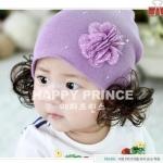 หมวกไหมพรมเด็กอ่อน มีปอยผมสองข้าง ประดับดอกไม้และคริสตัลน่ารัก