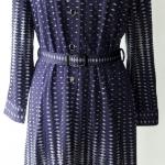 D46:Vintage dress เดรสวินเทจผ้าโพลีสีน้ำเงินลายกราฟฟิค(มีเข็มขัด)