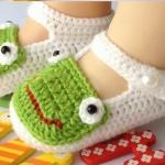 รองเท้าเด็กอ่อน ไหมพรมถัก Handmade รูปกบ สำหรับเด็ก 6-18 เดือน