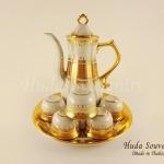 ของขวัญปีใหม่ให้ผู้ใหญ่ ชุดน้ำชาเบญจรงค์ ขนาดกลาง ทรงกากนก ลวดลายเบญจรงค์ทองสร้อย เคลือบเงา