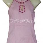 ขายแล้วค่ะ T60:Vintage top เสื้อสีชมพูปักลายดอกไม้&#x2764