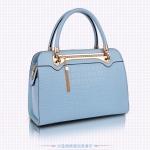 (สินค้าสั่งจอง)กระเป๋าถือและสะพายข้างหนัง PU นิ่มอยู่ทรงสีฟ้า