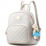 [ พร้อมส่ง ] - กระเป๋าเป้แฟชั่น สีครีมขาว ขนาดกระทัดรัด เย็บตาราง ดีไซน์สวยเก๋เท่ๆ ไม่ซ้ำใคร สวยสุดมั่น เหมาะกับสาว ๆ ที่ชอบกระเป๋าเป้เท่ๆ