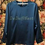 ขายแล้วค่ะ T42:Vintage top เสื้อวินเทจผ้าพริ้วสีดำแขนยาว&#x2764