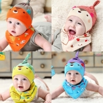 หมวก + ผ้ากันเปื้อน เด็กอ่อน กระรอกน้อย ผ้ายืด Cotton100%