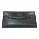 ***พร้อมส่ง - กระเป๋าสตางค์หนังแท้ สีดำคลาสสิค ใบยาวงานหนังแท้ ดีไซน์เรียบเก๋ดูดี แบบกระดุมเปิด 3 พับ แบบสวยใช้งานง่าย