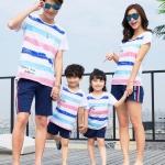 เสื้อครอบครัว - เสื้อยืดแขนสั้นสีขาว ลาย beachwear