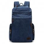 [ พร้อมส่ง ] - กระเป๋าเป้ ผู้ชาย-หญิง ดีไซน์เก๋เท่ ๆ สีน้ำเงิน ใบใหญ่จุใจ ช่องใส่ของเยอะ ใส่ หนังสือ และ I-Pad ได้ เหมาะสำหรับพกพา เดินทางท่องเที่ยว