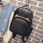 [ Pre-Order ] - กระเป๋าเป้แฟชั่น สไตล์เกาหลี สีดำคลาสสิค หนังอัดลายตารางด้านหน้า ดีไซน์สวยเก๋ไม่ซ้ำใคร งานหนังหนา มันเงาสวยมากค่ะ