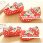 รองเท้าคัชชูเด็กเล็กหญิง ลายโบว์จุด Size 14-18