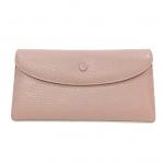 ***พร้อมส่ง - กระเป๋าสตางค์หนังแท้ สีชมพูนู๊ด ใบยาวงานหนังแท้ ดีไซน์เรียบเก๋ดูดี แบบกระดุมเปิด 3 พับ แบบสวยใช้งานง่าย