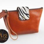 กระเป๋าเครื่องสำอางค์ MUSE สีส้มอิฐ งานหนังแท้ทั้งใบ งานน่ารักน่าใช้สุดๆ