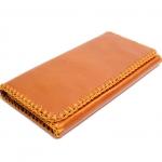 ***พร้อมส่ง - กระเป๋าสตางค์หนังแท้ สีส้มอิฐ ใบยาวงานหนังแท้ 100% ทั้งใบ ดีไซน์เรียบเก๋ดูดี ถักขอบรอบใบ แบบสวยใช้งานง่าย
