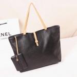 [ เปิดจอง พร้อมส่ง 30/10/14 ] - กระเป๋าแฟชั่น นำเข้าสไตล์เกาหลี สีดำ สายสีครีม ทรง Shopping สุดฮิต ดีไซน์เรียบๆ  เหมาะกับทุกโอกาส
