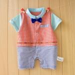 จั๊มสูทเด็ก แขนสั้น ลายสก๊อตสีส้ม มีหูกระต่าย สำหรับเด็ก 3-12 เดือน