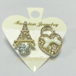 ต่างหู รูปหอไอเฟล&กุญแจหัวใจ (Eiffel & Heart Earrings)
