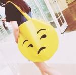 """[ พร้อมส่ง ] - กระเป๋าแฟชั่น สะพายไหล่ สีเหลือง ทรงกลม สกรีนหน้า """"มองบนเป๊ะปาก"""" ทรง Shopping Bag ใบใหญ่ ดีไซน์แปลกๆ แบบสวยเก๋ ไม่ซ้ำแบบใคร แน่นอน"""