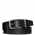 พร้อมส่ง เข็มขัดผู้ชาย COACH HARNESS SIGNATURE EMBOSSED LEATHER CUT TO SIZE REVERSIBLE BELT F66125