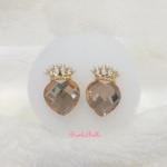 ต่างหูหัวใจ+มงกุฏ สีทอง Earrings