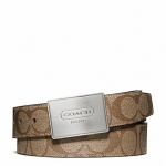 พร้อมส่ง เข็มขัดผู้ชาย COACH LOZENGE PLAQUE COACH HERITAGE STRIPE CUT TO SIZE REVERSIBLE BELT F66111