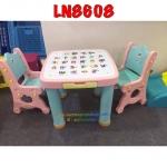โต๊ะเอนกประสงค์มาพร้อมเก้าอี้2ตัว(มีลิ้นชัก2อัน) สีทูโทนโอรส+ฟ้า