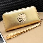[ พร้อมส่ง ] - กระเป๋าสตางค์แฟชั่น สไตล์เกาหลี สีบรอนซ์ทอง ใบยาว หนัง Saffiano แต่งโลโก้ สไตล์แบรนด์ดัง งานสวยโดดเด่น น่าใช้มากๆค่ะ