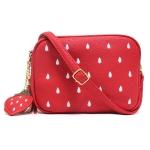 [ พร้อมส่ง ] - กระเป๋าแฟชั่น กระเป๋าสะพาย สีแดงสด ใบเล็ก เย็บลายสตอเบอรี่ สุดฮิตหนังสวย มีสายสะพายยาวปรับระดับได้ค่ะ