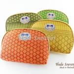 ของที่ระลึกไทย กระเป๋าผ้าลายไทย ขอบทอง (ขนาด: ขอบทอง L) ลายแพรทิพย์ หนึ่งโหลคละสี จำหน่ายยกโหล สินค้าพร้อมส่ง