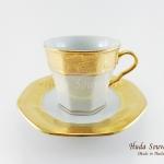 ของที่ระลึก แก้วกาแฟเบญจรงค์ ทรงเหลี่ยมลวดลายโบตั๋น ลายน้ำทอง เคลือบเงา