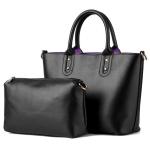 [ พร้อมส่ง Hi-End ] - กระเป๋าแฟชั่น ถือ&สะพาย Set 2 ชิ้น สีดำคลาสสิค ใบใหญ่ + กระเป๋าใบกลาง ดีไซน์สวยเรียบหรู ไม่ซ้ำแบบใคร งานหนังคุณภาพอย่างดี
