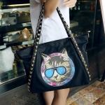 [ เปิดจอง พร้อมส่ง Hi-End 30/01/59 ] - กระเป๋าแฟชั่น นำเข้าสไตล์เกาหลี สีดำคลาสสิค พิมพ์ลายหน้าแมว ทรง Shopping ใบใหญ่มาก ดีไซน์แบรนด์ดัง ปักหมุดที่สายสะพายเท่ๆ แบบสวยเรียบหรู ดูดีทุกโอกาสการใช้งาน สาวๆห้ามพลาด